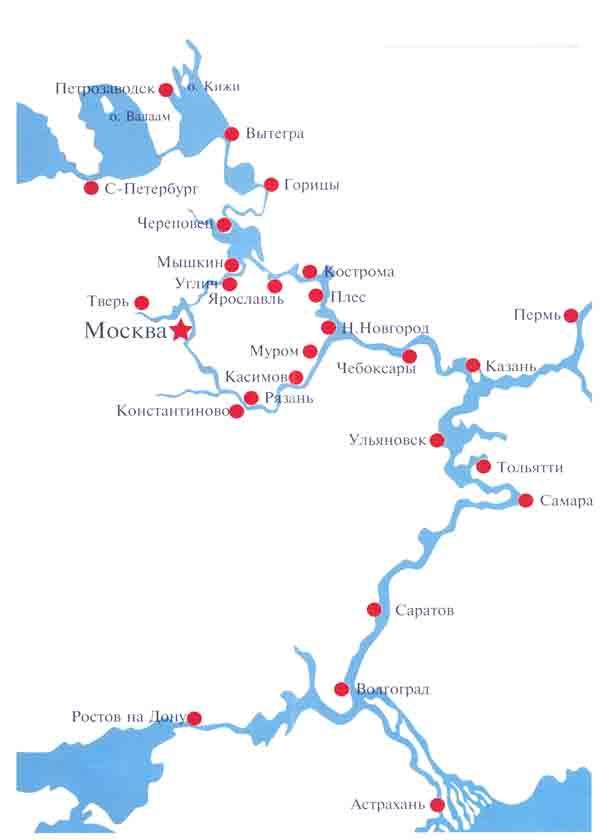 Карта-схема Волжского бассейна